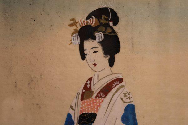 Antikvariniai paveikslai ant šilko