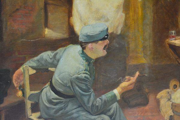 "Antikvarinis Sigmund Klempner paveikslas ""Skalbėjos ir kareivis"""