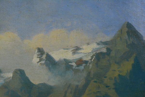 """Antikvarinis Paveikslas """"Vaizdingas Kalnų Peizažas"""""""