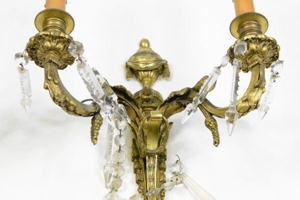 Antikvariniai krištolu dekoruoti šviestuvai 19 a. pab.