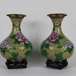 Cloissone kiniškų vazų pora