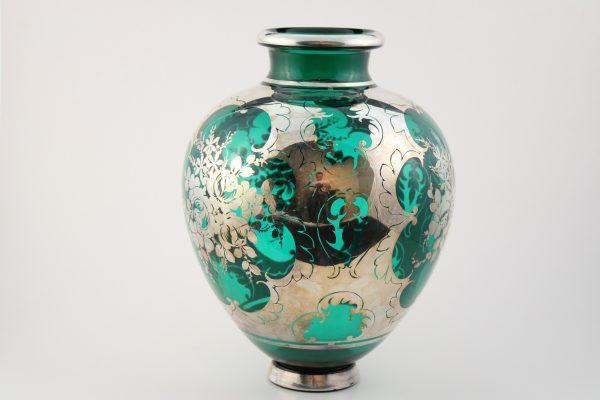 Sidabruota žalio stiklo vaza