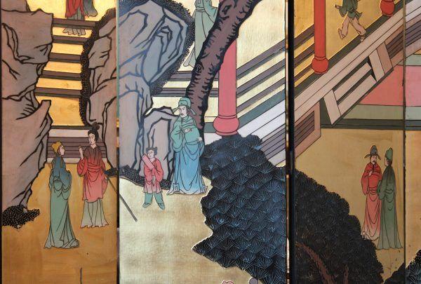 Dekoratyvi kiniška aštuonių dalių širma