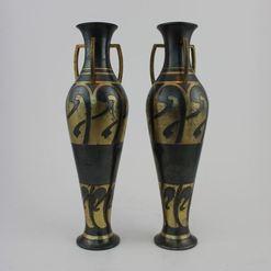Auksuotų Art Nouveau stiliaus vazų pora