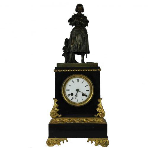 Napoleon III stiliaus juodo marmuro laikrodis