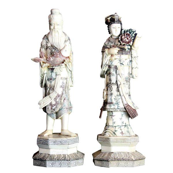 Antikvarinių kiniškų skulptūrų pora