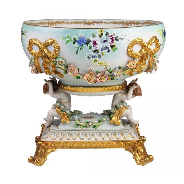 Louis XV stiliaus paauksuota porcelianinė vaza