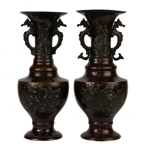 Kiniškų bronzinių vazų pora 19 a. pab.