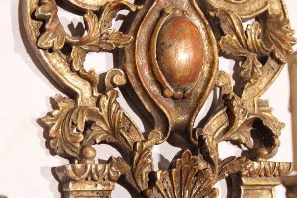 Napoleon III stiliaus trijų šakų sieniniai šviestuvai