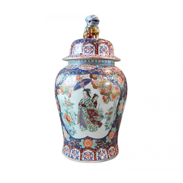 Kiniška porcelianinė vaza su dangčiu