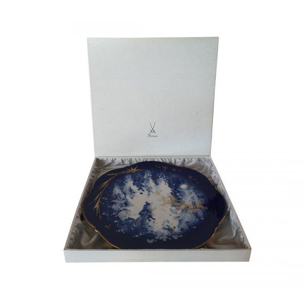 """Kolekcinė 1992 m. Meissen porcelianinė lėkštė """"Žiemos miškas"""""""
