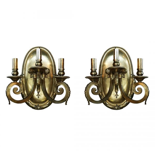 Trijų šakų Art Deco stiliaus sieniniai šviestuvai 20 a.