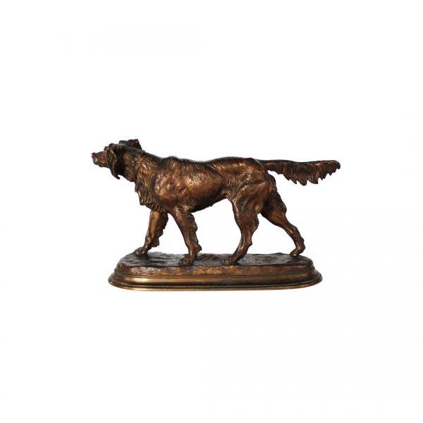 """J. Moigniez bronzinė skulptūra """"Seteris"""" 19 a. pab."""