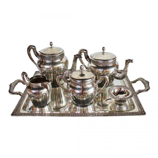 Sidabrinis arbatos ir kavos servizas su padėklu 20 a. II pusė