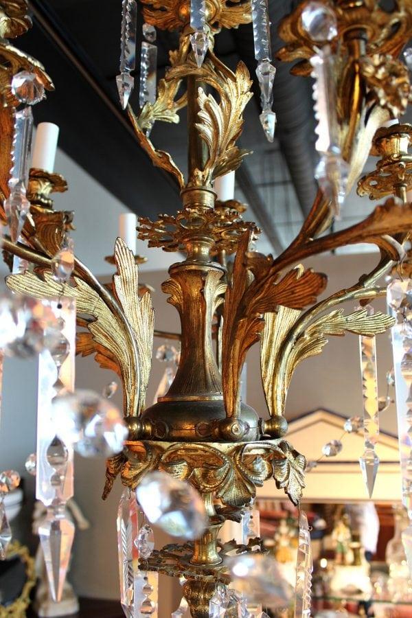 19 a. pab. rococo stiliaus bronzinis sietynas su krištolu
