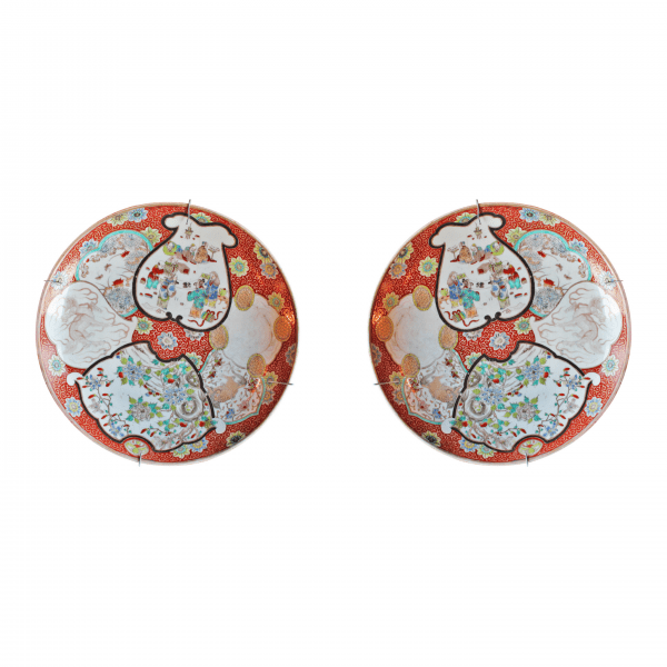 Kiniškos porcelianinės lėkštės 19 a. pab.