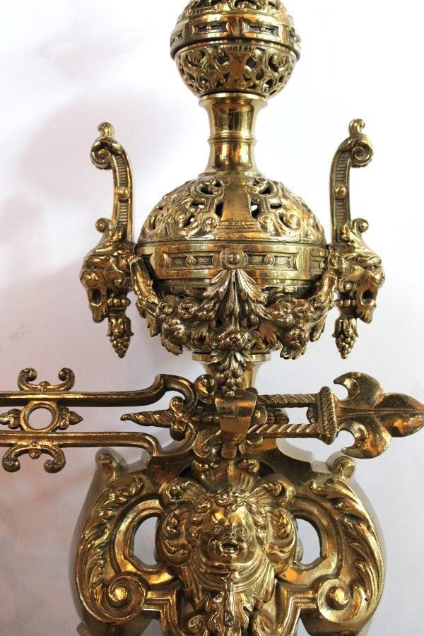 Napoleon III stiliaus žalvariniai židinio aksesuarai 1850-1870 m.