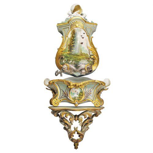 Rococo stiliaus porcelianinis praustuvas 19 a.