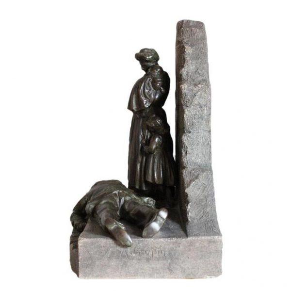 Achille Jacopin antikvarinė bronzinė skulptūra