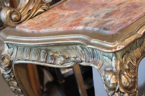 Rococo stiliaus antikvarinis veidrodis su konsole