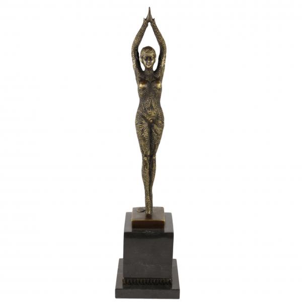"""Art Deco skulptūra """"Šokėja"""" pagal D. H. Chiparus"""