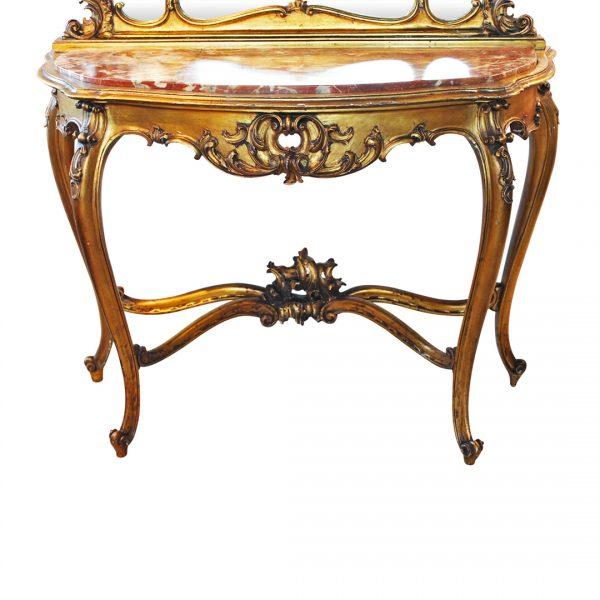Rokoko stiliaus konsolė su veidrodžiu