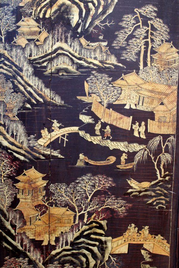 Coromandel stiliaus kiniška keturių dalių širma