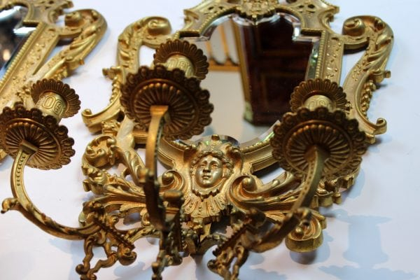 Napoleon III sieninės žvakidės su veidrodžiu
