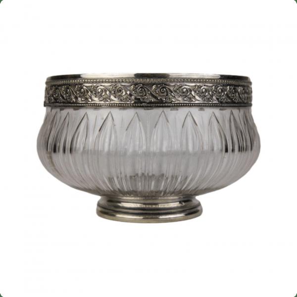 Antikvarinė krištolinė vaza su sidabriniu žiedu